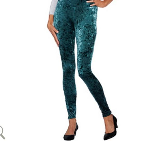 c4a36f3bd502a LOGO by Lori Goldstein Pants | Panne Velvet Leggings Deep Emerald ...